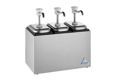 Sauzenbar onverwarmd 3-delig met 3 BCMK drukknopdispensers