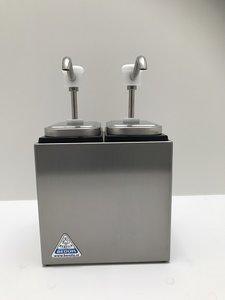 Sauzenbar onverwarmd 2-delig met 2 BCMK drukknopdispensers