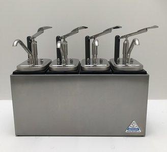 Sauzenbar onverwarmd 4-delig met 4 NEOdis dispensers