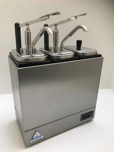 Sauzenbar verwarmd 3-delig met 2 NEOdis dispensers en 1 deksel